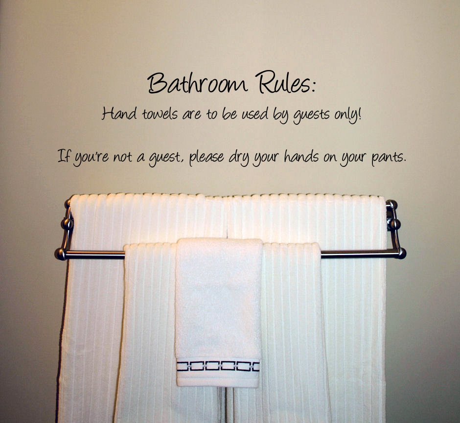 Humorous Bathroom Rules Wall Decal - Trading Phrases