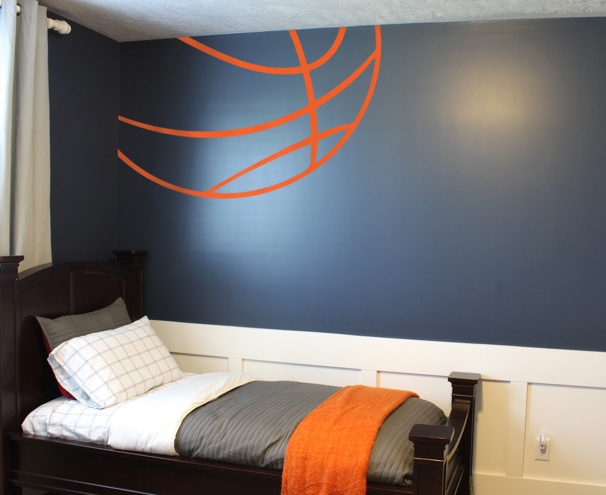 basketball themed room basketball lines wall decal trading phrases 10184